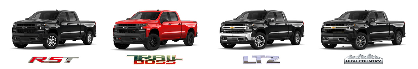 Chevrolet Silverado 2019 line up LTZ RST high country trail boss
